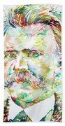 Friedrich Nietzsche Watercolor Portrait Beach Towel