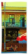 Friends On The Bench At Cartel Street Food Mexican Restaurant Rue Clark Art Of Montreal City Scene Beach Towel