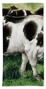 Friesian Cows Beach Towel
