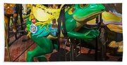 Frog Carrousel Ride Beach Sheet