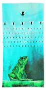Frog With Flies In Space Invaders Formation Beach Towel by Fabrizio Cassetta