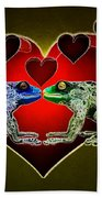 Frogs In Love Beach Towel