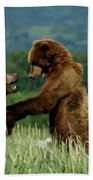 Frolicking Grizzly Bears Beach Towel