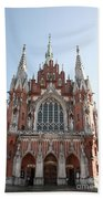 Front Entrance To St Joseph Church Krakow Beach Towel