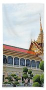Front Of Reception Hall At Grand Palace Of Thailand In Bangkok Beach Towel