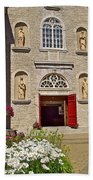 Front Of Sainte-famille Church On Ile D'orleans-qc Beach Towel