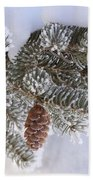 Frosted Pine Tree And Cones 1 Beach Towel