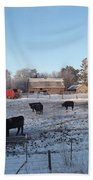 Frosty Barnyard Beach Towel