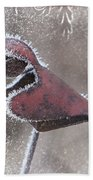Frosty Cardinal Beach Towel