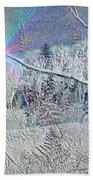 Frosty Window Distant Sun Beach Towel