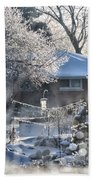 Frosty Winter Window Beach Sheet