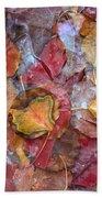 Frozen Autumn Aspen Leaves Beach Towel