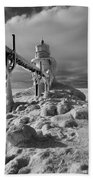 Frozen Grand Haven Lighthouse Black And White Beach Towel