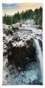 Frozen Snoqualmie Falls Beach Towel