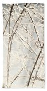 Frozen Tree Branches In Winter Beach Towel