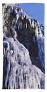 Frozen Waterfall On Oregon Central Coast Beach Towel