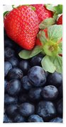 Fruit 2- Strawberries - Blueberries Beach Towel by Barbara Griffin