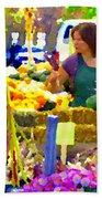 Fruit And Vegetable Vendor Roadside Food Stall Bazaars Grocery Market Scenes Carole Spandau Beach Towel