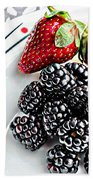 Fruit I - Strawberries - Blackberries Beach Towel