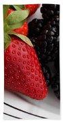 Fruit II - Strawberries - Blackberries Beach Towel by Barbara Griffin