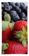 Fruit - Strawberries - Blueberries Beach Towel