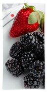 Fruit V - Strawberries - Blackberries Beach Towel