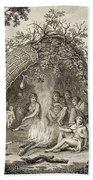 Fuegans In Their Hut, 18th Century Beach Towel