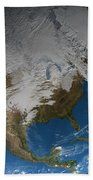 Ful Earth Showing Simulated Clouds Beach Towel by Stocktrek Images