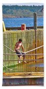 Fun At The Ferry Dock On Brier Island In Digby Neck-ns Beach Towel