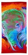 Funky Baby Elephant Blue Beach Towel