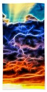 Funky Glowing Electrified Rainbow Clouds Abstract Beach Towel