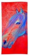 Funky Handsome Horse Blue Beach Towel