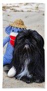 Funky Monkey And Sweet Shih Tzu Beach Towel