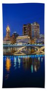 Fx2l530 Columbus Ohio Night Skyline Photo Beach Towel