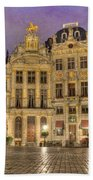 Gabled Buildings In Grand Place Beach Towel