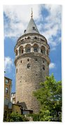 Galata Tower Landmark In Istanbul Turkey Beach Towel