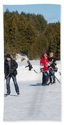 Game Of Ice Hockey On A Frozen Pond  Beach Towel