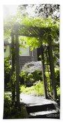 Garden Arbor In Sunlight Beach Towel by Elena Elisseeva