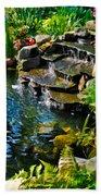 Garden Goldfish Pond Beach Towel
