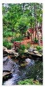Garden Waterfall And Pond Beach Towel
