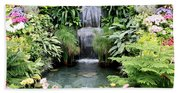Garden Waterfall Beach Towel