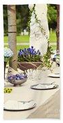 Garden Wedding Table Setting Beach Towel