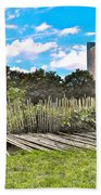 Garden With Bamboo Garden Fence In Battery Park In New York City-ny Beach Towel by Ruth Hager