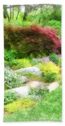 Garden With Japanese Maple Beach Towel