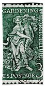 Gardening And Horticulture Vintage Postage Stamp Print Beach Towel