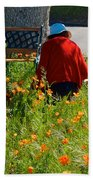 Gardening Distractions In Park Sierra-california Beach Towel