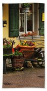 Gast Haus Display In Rothenburg Germany Beach Towel by Greg Matchick