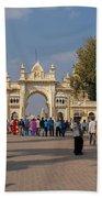 Gate To Maharaja's Palace India Mysore Beach Towel
