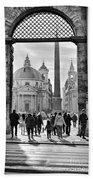 Gate To Piazza Del Popolo In Rome Beach Towel
