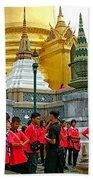 Gathering Near Pagodas Of Grand Palace Of Thailand In Bangkok Beach Towel